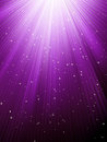 Stars are falling on purple luminous rays. EPS 8 Royalty Free Stock Photo