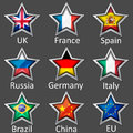 Stars with flag icons Royalty Free Stock Images