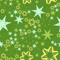 Stars and flowers on Retro stylized seamless warping paper pattern