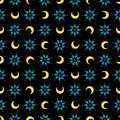 Stars and moons magical seamless pattern