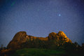 Stars Over Rock Formations Royalty Free Stock Photo