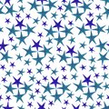 Stars pattern in blue color.hand-drawn watercolor stars, isolated on white background.Seamless background for your design