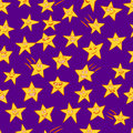 Stars seamless pattern composed of drawn cartoon Stock Photography