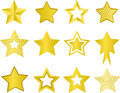 Stars set of golden on white Royalty Free Stock Photos