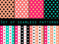 Stars. Set seamless patterns. Blue and pink color. The pattern for wallpaper, bed linen, tiles, fabrics, backgrounds. Vector