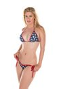 Stars and stripes beautiful tall blonde in a bikini Royalty Free Stock Images