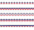 Stars stripes borders a set of patriotic style and in various shapes Stock Image