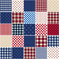 Stars and stripes patchwork quilt with squares in red white blue with plaids checks Stock Images