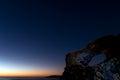 Stars at sunrise a shot o a starry sky in the coast of arinaga Stock Photography