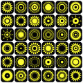 Stars and suns abstract icons. Design elements set. Royalty Free Stock Photo