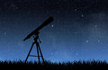 Stars telescope under the night sky Stock Photos
