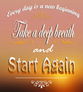 Start again a motivational message for new beginnings on a colorful background Stock Photography