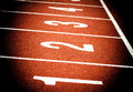 Start on athletics running track close up of all weather n n Stock Images