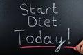 Start Diet Concept On Blackboard