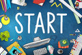 Start journey mission achievement begin concept Stock Photos