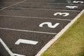 Start line on running track in stadium Royalty Free Stock Image