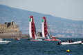Start match race the of the between the two italian teams team prada in the of america s cup in naples Stock Images