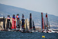 Start regatta the of the amaeirca s cup world series in naples in italy Royalty Free Stock Photography