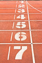 Start running track rubber standard red color Royalty Free Stock Photo