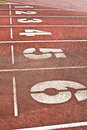 Start running track rubber standard red color Stock Images