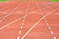 Start running track rubber standard red color Stock Photos