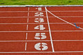 Start running track rubber standard red color at thailand Royalty Free Stock Image