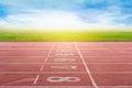 Start running track in stadium or sport park. Royalty Free Stock Photo