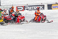 Start of the snowmobile race eagle river wi march during a on march in eagle river wisconsin Stock Images