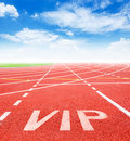 Start track. Lanes VIP on red racing track Royalty Free Stock Photo