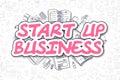 Start Up Business - Cartoon Magenta Text. Business Concept.