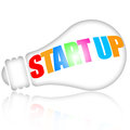 Start up business concept with lightbulb over white background Stock Images