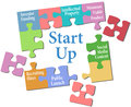 Start up business model solution jigsaw puzzle pieces put together entrepreneur plan Royalty Free Stock Photo