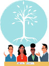 Start up company a group of young business people talking to an investor a tree as a symbol of growing business on the background Stock Images