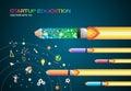 Start up concept. pencils rocket flying education concept