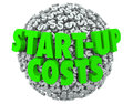 Start up costs new business launch dollar signs company opening d words on a ball or sphere of to illustrate financing and Royalty Free Stock Photo