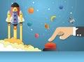 Start Up. hands pushing the start button. Concept business