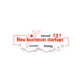 Start up icon. Startup business rocket sign. Line art symbol on white background. Vector