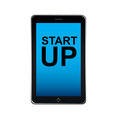 Start up smart phone over white background vector illustration Royalty Free Stock Images