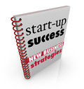 Start up success new business strategy advice book cover with and instructions as a manual for a person to learn from and Stock Images
