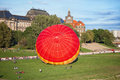 Starting balloon dresden germany a on the riverside elbe in dresden alot of people looking at the Stock Photography