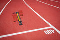 Starting block athletics on a stadium Royalty Free Stock Photos