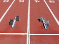 The starting blocks on the running track Royalty Free Stock Photo