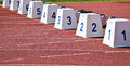 Starting blocks on the running track Royalty Free Stock Photo