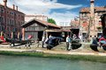 Starting renovation of gondola in venice people the a italy Royalty Free Stock Image