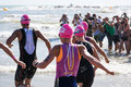 Starting for the swimming test of the women athletes of the Ironman 70.3 Pescara of June 18, 2017