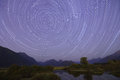 Startrails and meteor fireball from pitt river fire ball near golden ears mountain Stock Photos
