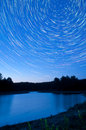 Startrails over Kingston Lake Stock Photos