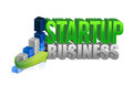 Startup business graph sign illustration design over white Royalty Free Stock Photo