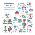 Startup, business project, product management, finance plan vector concept background Royalty Free Stock Photo