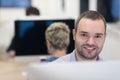 Startup business software developer working on desktop computer at modern office Royalty Free Stock Images
